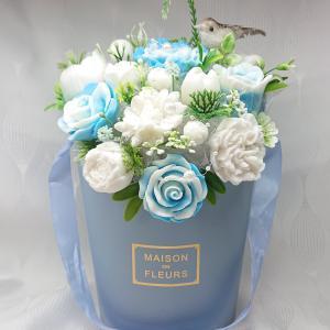Nagy kék - fehér illatos szappan box kismadárral