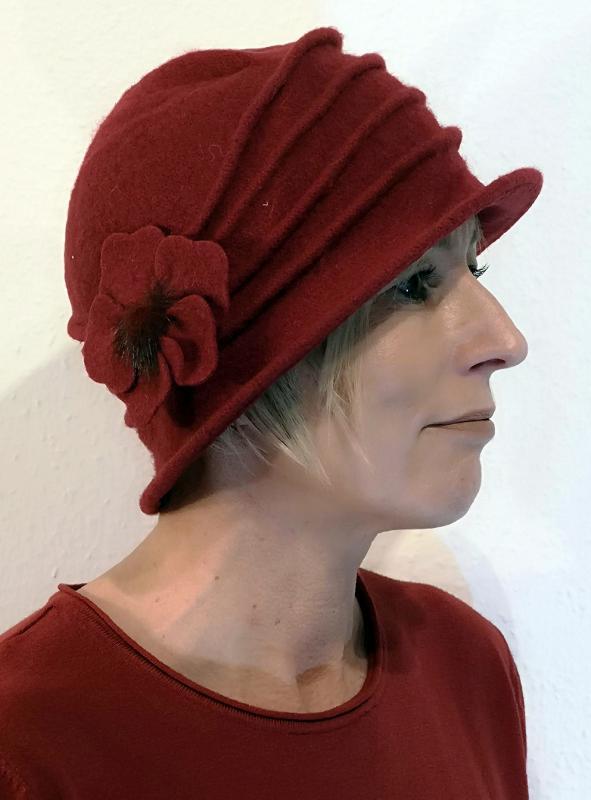 Bordó kalapsapka gyapjúból