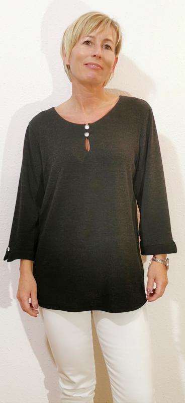 Egyszerű fazonú pulóver - fekete