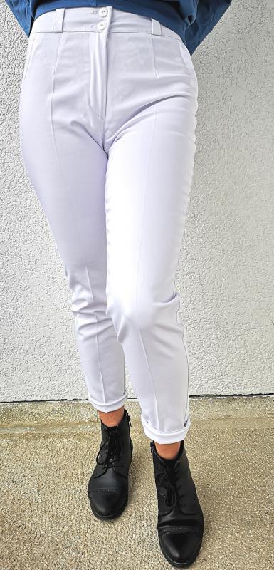 Elasztikus elegáns 95% pamutból 7/8-os nadrág– fehér