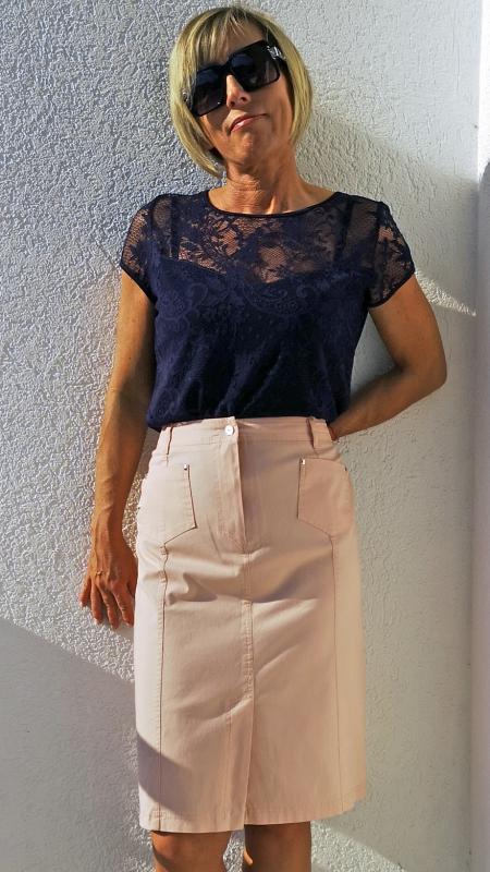 Elasztikus pamut szoknya – fáradt rózsaszín