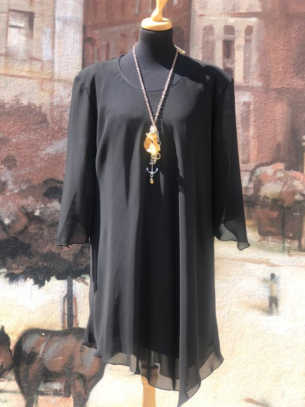 EXTRA nagy méretű fekete selyem zsorzsett tunika