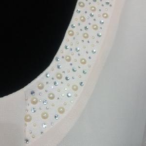 Halványrózsaszín muszlin betétes tunika
