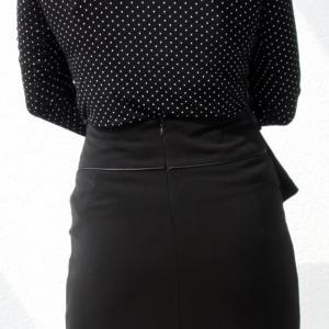 Selyem zsorzsett szoknya bőrdíszítéssel fekete