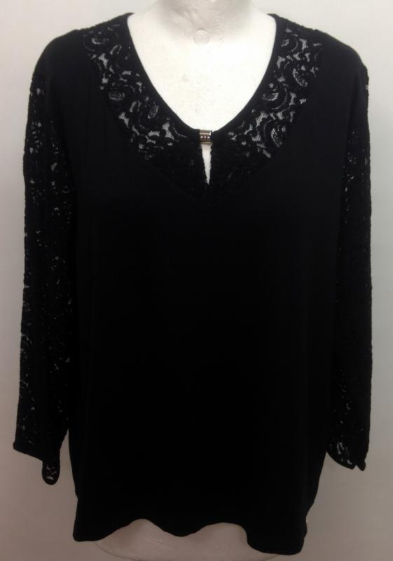 Fekete hosszú ujjú póló, csipkével