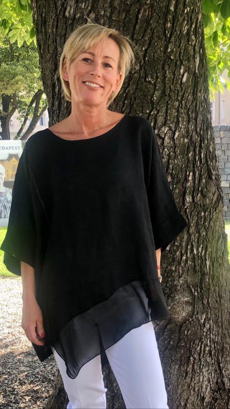 Fekete lenvászon tunika selyem díszítéssel