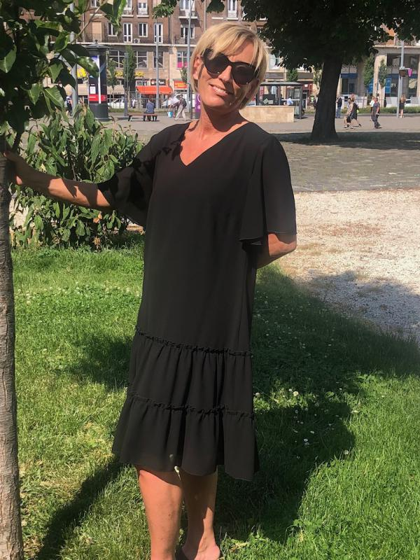 Fekete selyem zsorzsett ruha II.