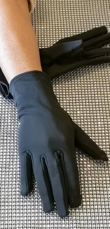 Fekete sztreccs pamut jersey kesztyű - béleletlen