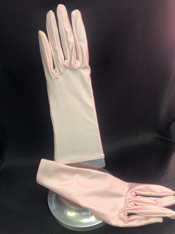 Halvány rózsaszín sztreccs pamut jersey kesztyű - béleletlen
