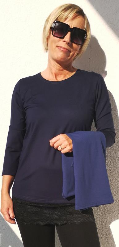 Háromnegyedes ujjú póló – sötétkék