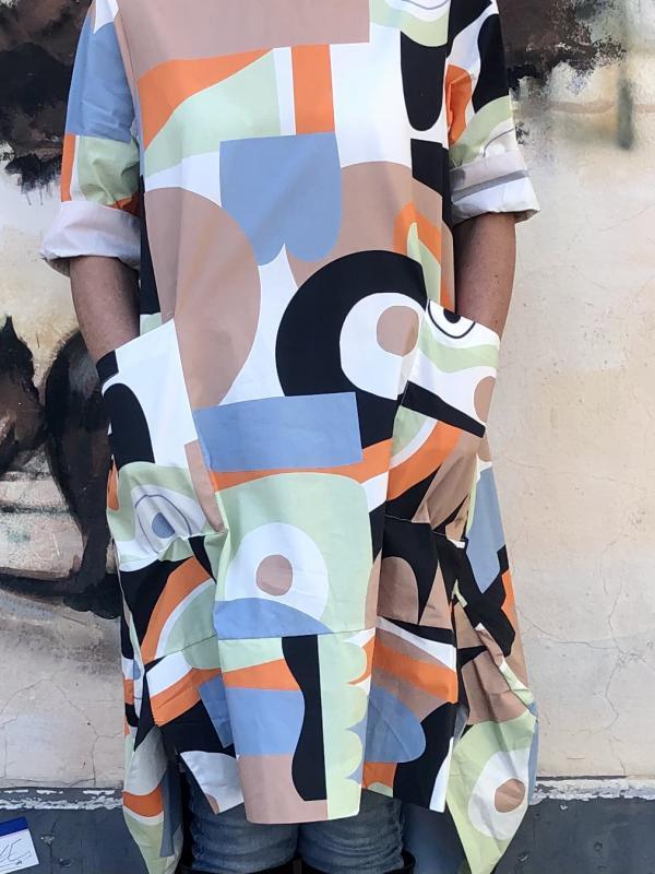 Mintás ruha/tunika - zöld/kék/narancssárga