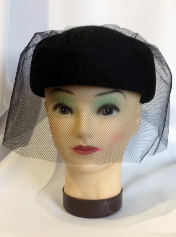 Női tok kalap 100% nyúlszőr, fátyollal