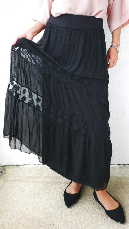 Pamut selyem szoknya- fekete