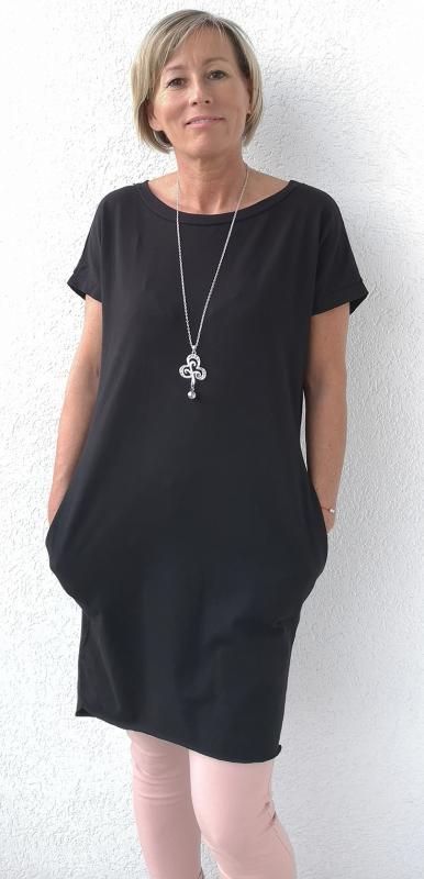 Pamutruha vagy tunika oldalán két zsebbel –fekete