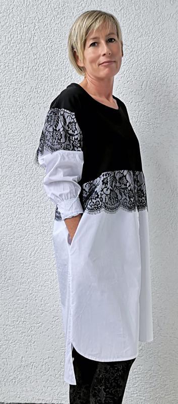 Stella Milani® fekete-fehér blúz, ruha, tunika