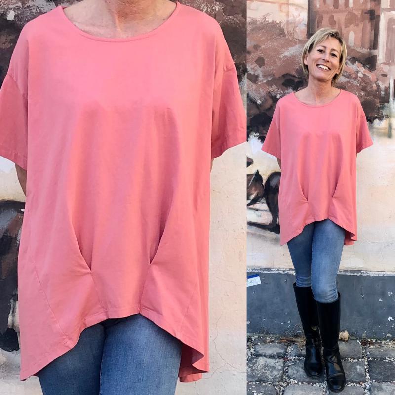 Stella Milani® pamut tunika/póló az idei év divat színében - korall