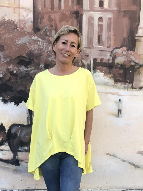Stella Milani® pamut tunika/póló az idei év divat színében -sárga