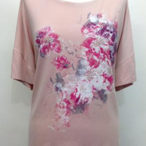Ejtett vállú rózsaszín póló