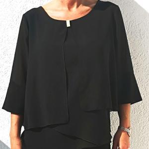 Fekete gallér nélküli selyem zsorzsett blúz