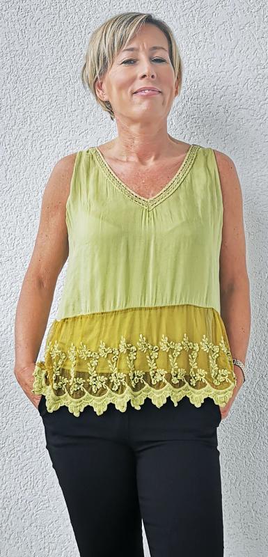 Ujjatlan zöld selyem póló