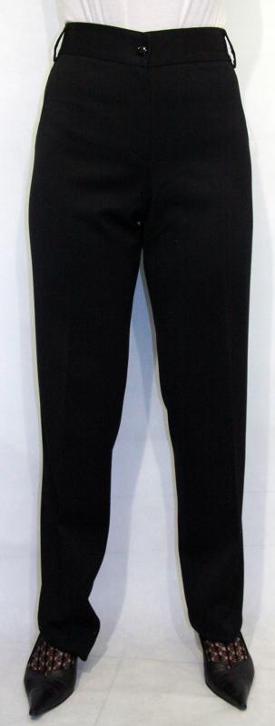 Zsebeinél szatén szalaggal díszített nadrág – fekete