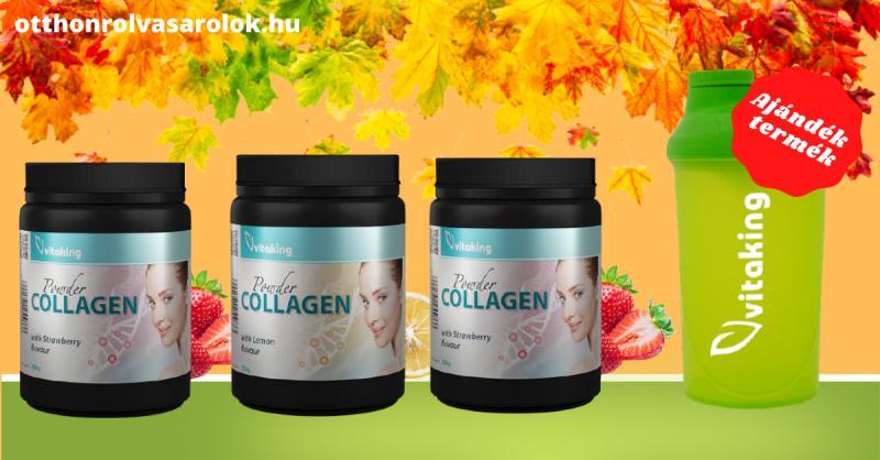 3 doboz Vitaking Citromos Kollagén (330g) + ajándék shaker 0,5l