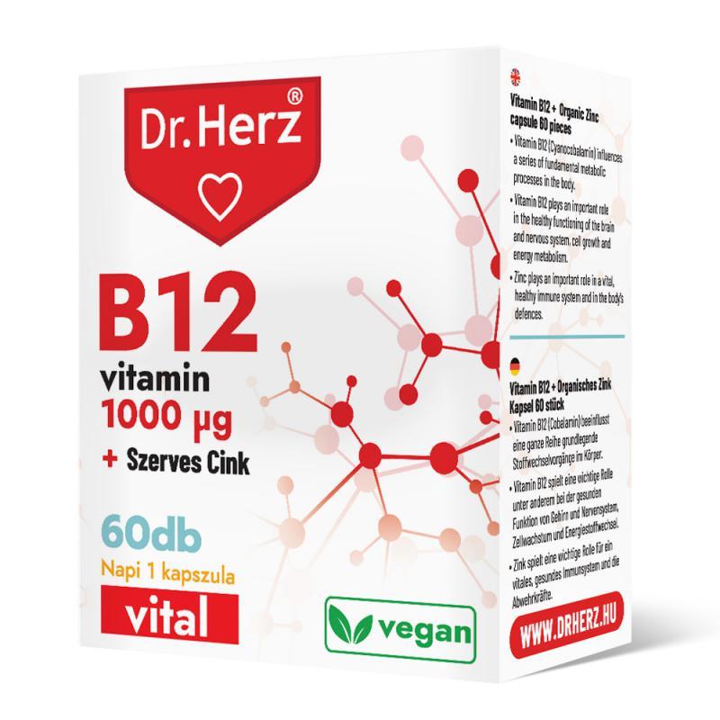 DR Herz B12 1000 mcg + Szerves Cink 60 db kapszula doboz