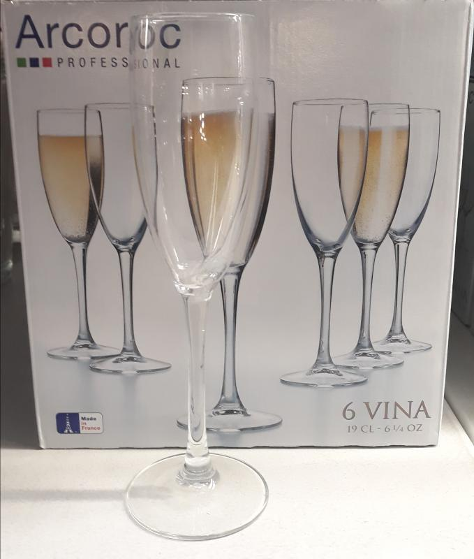 Arcoroc Vina Flute pezsgős pohár, 19 cl, 6 db, 502496