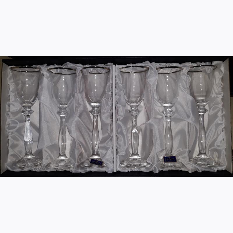 Bohemia kristály pohár ezüstszínű díszítéssel, likőrös, 6db, 416067