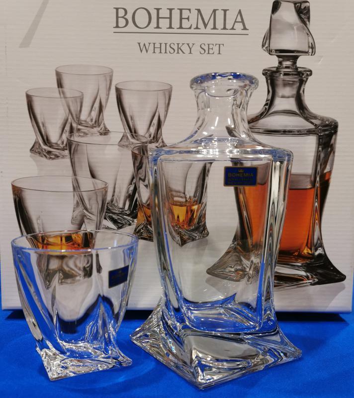 Bohemia quadro kristály whiskys szett díszdobozban, 7 db, 416002