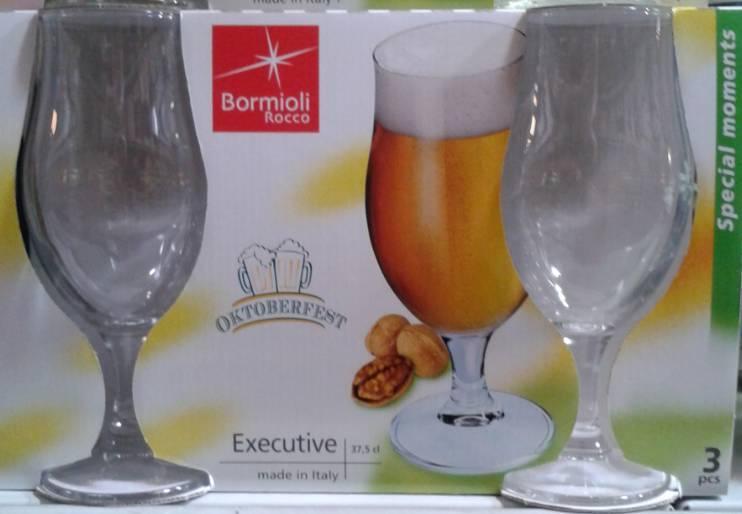 Bormioli Rocco EXECUTIVE talpas sörös pohár, 37,5 cl, 3 db, 119121