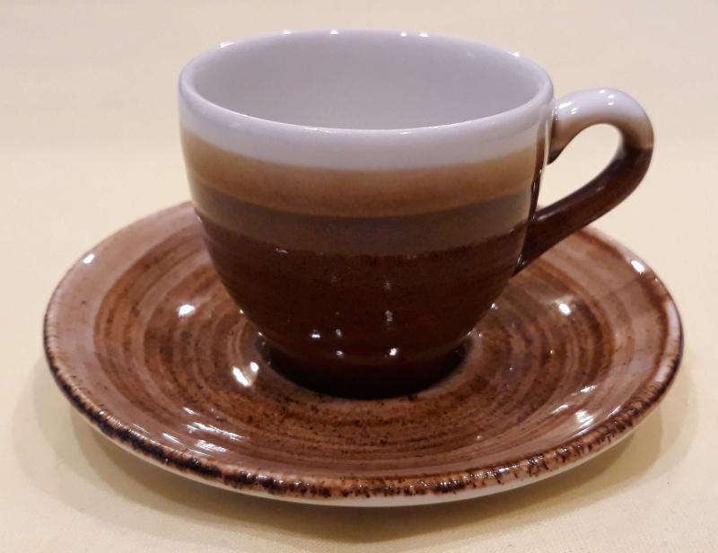 Churchill Monochrome Barna kerámia kávéscsésze alátéttel, barna csésze, 10cl