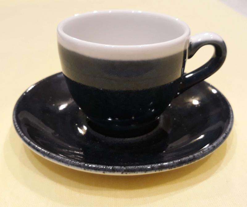 Churchill Monochrome Blue kerámia kávéscsésze alátéttel, kék csésze, 10cl
