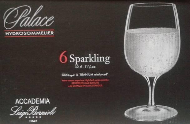 Luigi Bormioli Palace Sparkling Hydrosommelier talpas vizes pohár, 32 cl, 6 db,   198023
