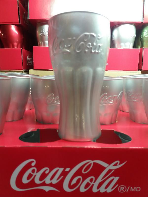 Luminarc ezüst színű Coca Cola Mirror üdítős pohár, 37 cl, COLAEZ