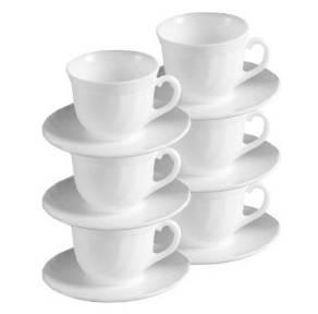 Luminarc Opal teás készlet, 6 db csésze+alj, fehér, 22 cl, középnagy, 500014