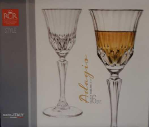 RCR Cristalleria Italiana Adagio talpas likőrös pohár készlet, 8 cl, 6 db