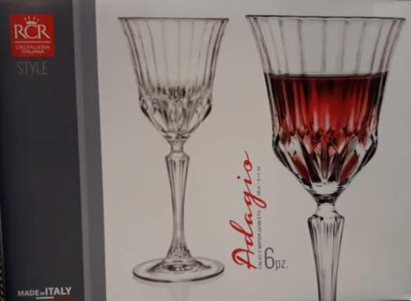 RCR Cristalleria Italiana Adagio talpas vörösboros pohár készlet, 28 cl, 6 db