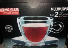LUIGI BORMIOLI THERMIC GLASS teás csésze+rozsdam.alj, Multipurpose,2 db, 30 cl, 198153