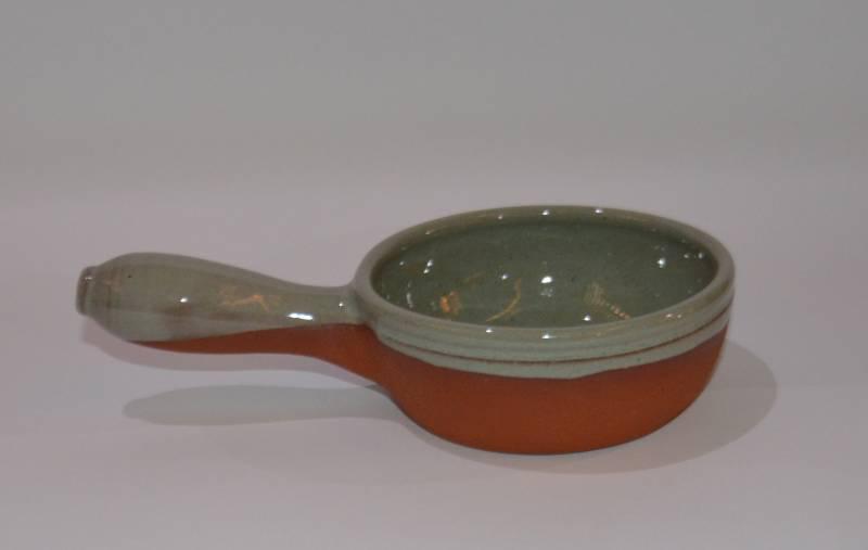 Csűr-rusztikus nyeles tál, türkiz színű