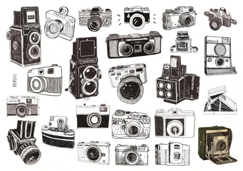 fényképezőgép matrica 24 db fekete fehér