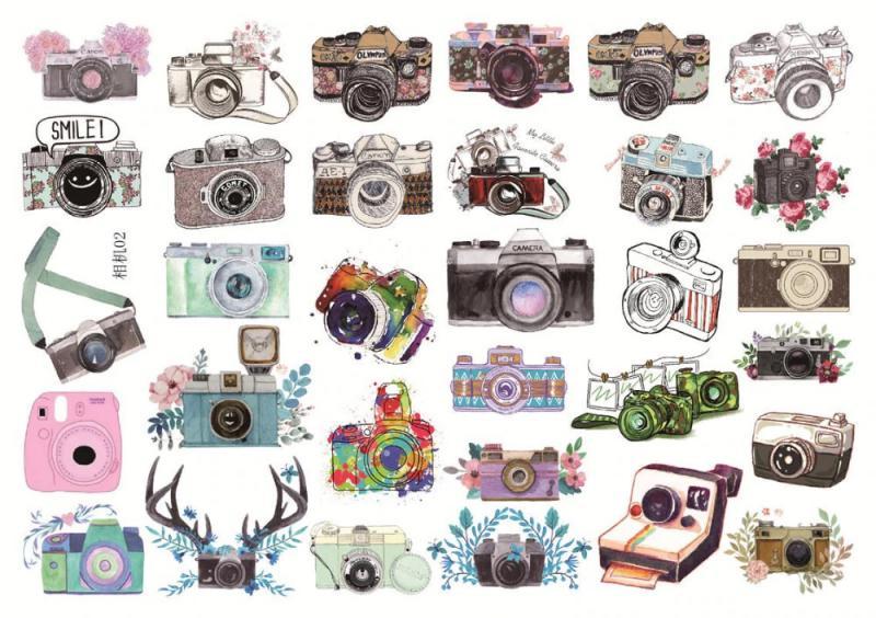 fényképezőgép matrica 24 db színes