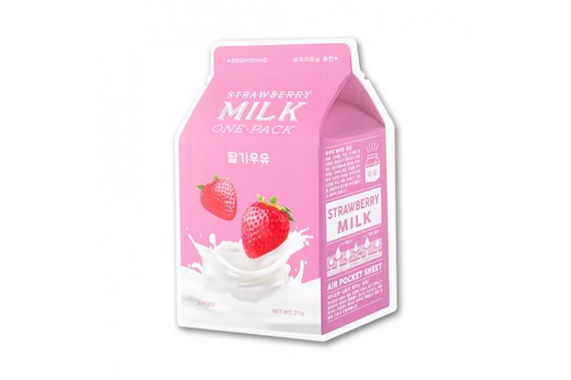 A'PIEU Milk Arcmaszk - Eper (Világosító) 21g