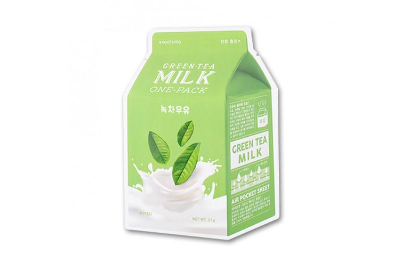 A'PIEU Milk Arcmaszk - Zöld Tea (Nyugtató) 21g