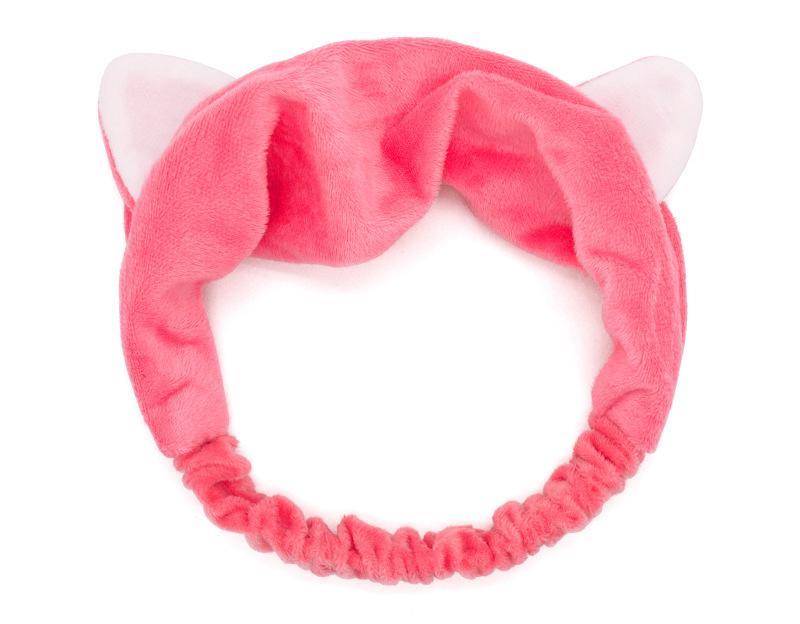 Kozmetikai Hajpánt hegyes macskafülekkel - Rózsaszín