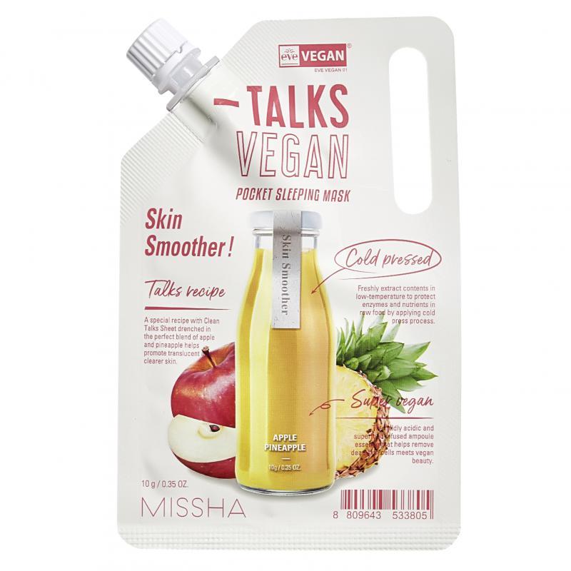 MISSHA Talks Vegan Squeeze Pocket Éjszakai Arcmaszk - Skin Smoother 10g