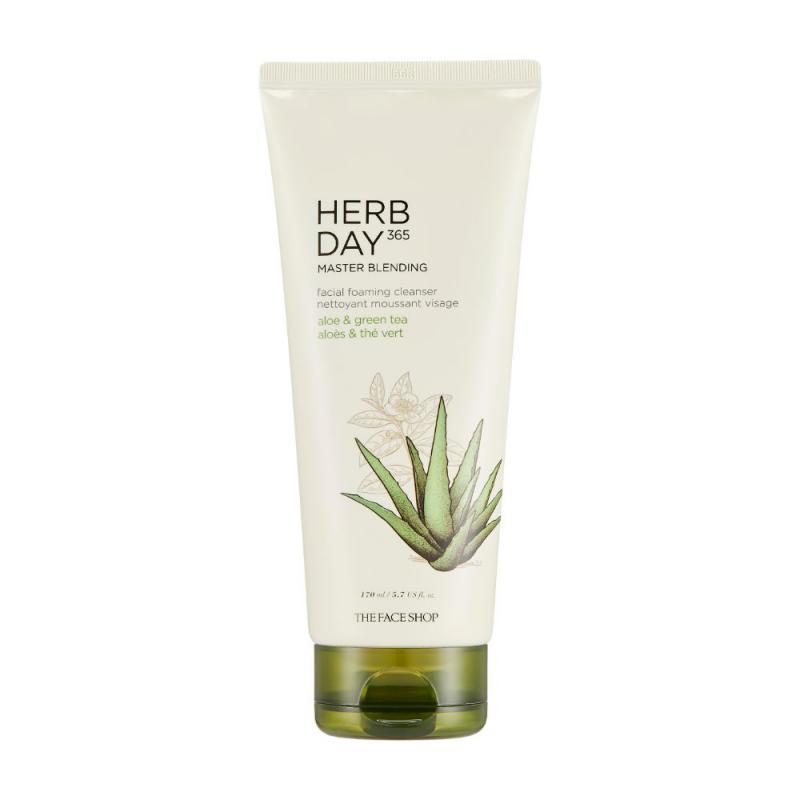 THE FACE SHOP Herb Day 365 Master Blending - Arctisztító Hab (Aloe és Zöld Tea) 170ml