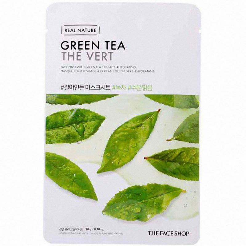 THE FACE SHOP Real Nature Arcmaszk - Zöld Tea (Hidratáló) 20g