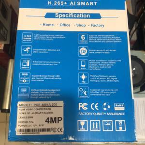 POE NVR kit h.265+ ai smart 4mp 4db ip kamera szett