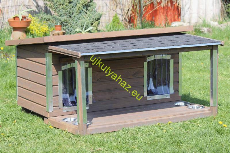 130X70 hőszigetelt dupla kutyaház lapos tetős teraszos, élvédőzött